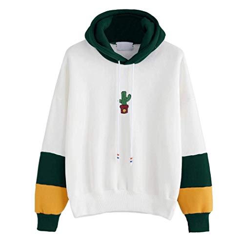 Zhrui Vert Blouse Taille Womens Longues À Manches L Cactus Hoodie couleur rF8qwr7