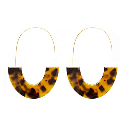 - Tortoise Acrylic Half Round Hoop Drop Earrings KELMALL COLLECTION