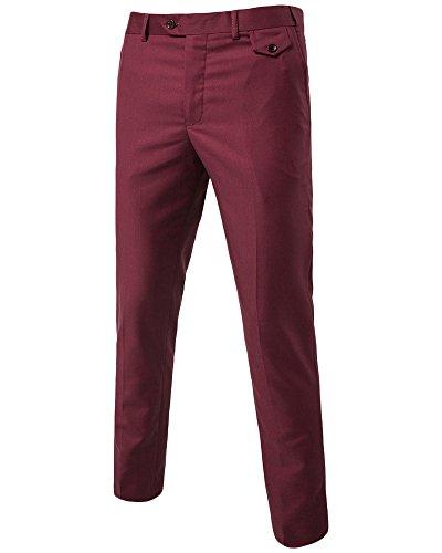 Fit Chino Slim Casual Pantaloni Rosso Business Vino Pantalone Eleganti Quge Uomo Elegante SLjqVGMUzp
