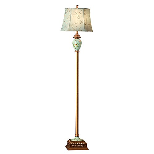 LampRight Classic European Country Style Hand Painted Retro Floor Lamp 64 inch - Traditional Elegant Resin Base with High Grade Embroidery Chameleon Imitation Silk Fabric (Country Style Floor Lamps)