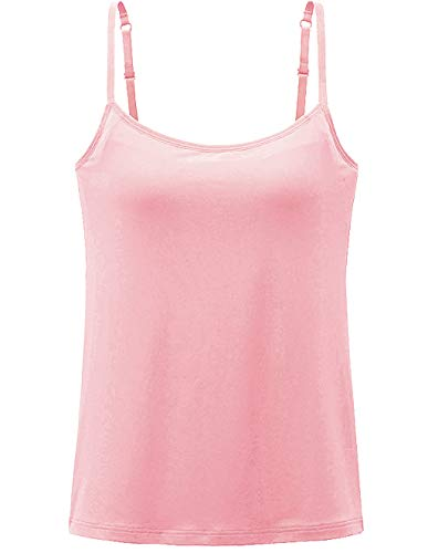 Womens Tank Tops Adjustable Strap Camisole with Built in Padded Bra Vest Cami Sleeveless Top for Yoga Daily Wearing Pink S