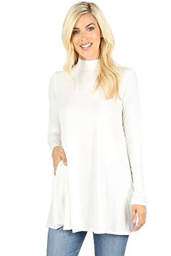 (12 Ami Long Sleeve Solid Mock Neck Pocket Swing Tunic T-Shirt Top Ivory XXL)