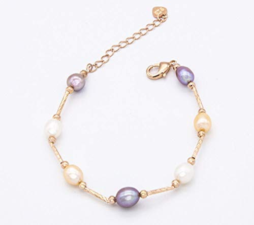 (Madison Jewelry 14K Rose Gold Multicolor Pearls Bracelet for Women Fashion)