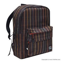 Brown Stripe Plaid Big P Backpack By Yak Pak for sale  Delivered anywhere in USA