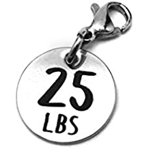 25 lbs Weight Loss Jewelry Charm - Motivational and Inspirational Jewelry for Fitness and Workout Motivation for Pounds Lost - Stainless Steel Engraved Charm and Clasp - Tarnish Free Charms