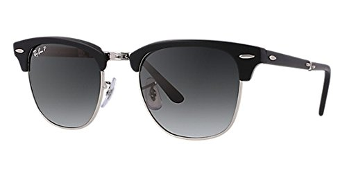Ray-Ban RB3016 Clubmaster Sunglasses (51 mm, Solid Black G15 Lens Non-Polarized ()