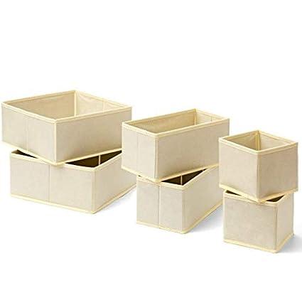 Amazon.com: SUNFREE Basket Set Storage Box Beige for Linens ...