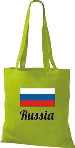 ShirtInStyle Bolso de mano Bolsa de algodón Yute de país Rusia Rusia - fucsia, 38 cm x 42 cm kiwi