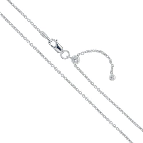 - Sterling Silver Adjustable Thin Cable Chain 1mm Solid 925 Rolo Link New Necklace 22