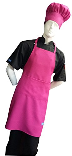 Chefskin Hot Pink Fuchsia Adult Chef Set (Apron+hat) Adjustable, Ultra Lite (Chef Pink)