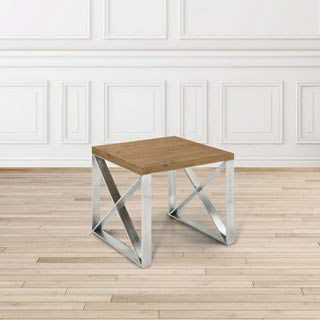 - Uptown Club Dynasty Industrial Wood and Metal Square End Table