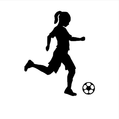 hwhz 45X54 cm Little Girl Football Player Sticker Sports Soccer Car Decal Helmets Kids Room Name Posters Vinyl Wall Decals Football Sticker -