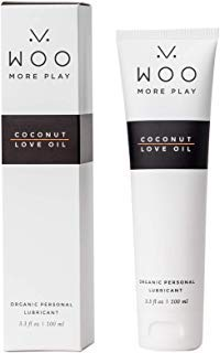 Woo More Play: Coconut Love Oil (3.3 oz) - Lubricant - Designed with Feminine Sensuality in Mind - pH Balanced - All-Natural Organic Ingredients - Made to Moisturize and Excite