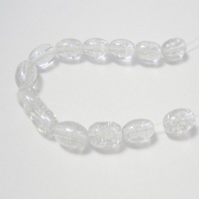 70 Pcs / 32 inch 8x11mm Oval Crackle Glass Beads - Clear - A2243 k2-accessories