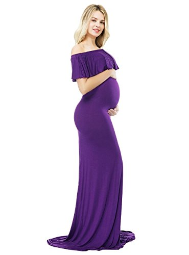 Sannyway Photoshoot Maternity Dress Ruffle Off Shoulder Photography Maxi Gown (Purple, L) by Sannyway (Image #1)