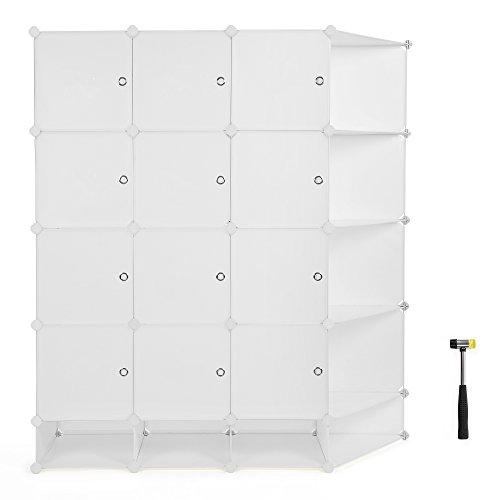SONGMICS Plastic Storage Closet Organizer DIY Cube Organization System With Doors Sticker and Rubber Hammer 57 1/2 L x 18 1/8 W x 64 1/8 H 5-Tier 20 Cubes Milky White ULPC54M