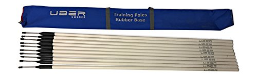 Uber Soccer Agility Training Poles with Rubber Flexi Base - Set of 10 - White with Blue Bag