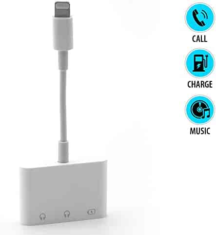 Lighting to 3.5mm Headphone Jack Adapter (3 in 1) AUX Dual Audio and Charging Support for iPhone Xs/XS Max/XR/X / 7/7 Plus / 8/8 Plus, iPad, iPod (iOS 11, 12) | Fast, Adaptive Charging | White