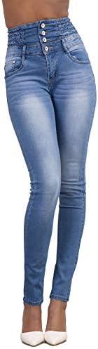 Yidarton Jeans für Damen Vintage Lässige Dünn Denim Strecken Schlank Hochbund Knopfleiste Jeanshose Röhrenjeans Push Up Hose (Hellblau, S)
