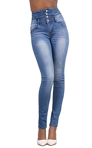 Yidarton Women's Retro Casual High Waist Slim Skinny Stretchy Butt Lifting Jeans with Buttons Denim Trousers Pants