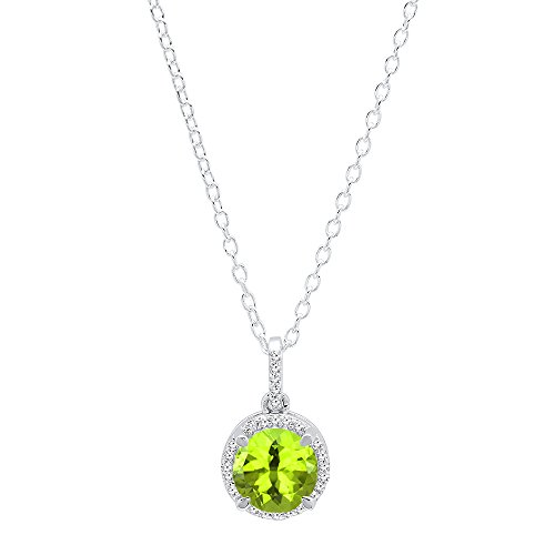 Dazzlingrock Collection 10K 6.5 MM Round Peridot & White Diamond Ladies Halo Pendant (Silver Chain Included), White Gold (10k Peridot Necklace)