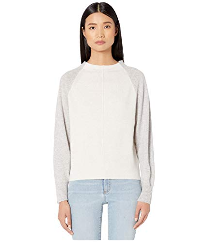 Vince Women's Colorblock Raglan Cashmere Sweater, Heather White/Heather Grey, Small