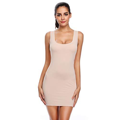 (Joyshaper Full Slips for Under Dresses Women Long Cami Tank Dress Scoop Neck Sleeveless Bodycon Dresses (Nude-1, S/M) )
