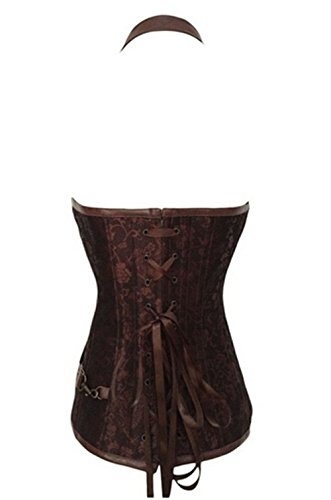 acciaio steampunk cintura in stecche donna da vita e Corsetto 42 stile in in L pelle Brown di forte taglia 40 xXnOIP7