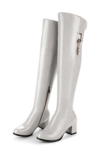 QIN&X La mujer Tosca del tacón alto por encima de la rodilla botas largas zapatosRice White