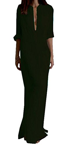 Zago Women Long Sleeve VNeck Cotton Linen Pocket Long Maxi Dress Black XL