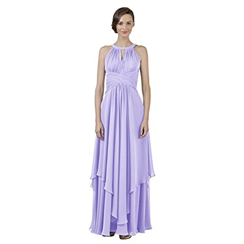 Alicepub Jewel Chiffon Bridesmaid Dress Long A-Line Party Prom Gown Evening Dress, Lilac, US10