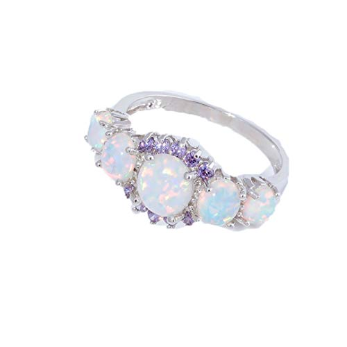 - MARRLY.H Luxe Fire Opal Silver Plated Oval Round Stone Finger Ring Blue Full Crystal Vintage Jewelry Gift for Women Violet Opal Ring 12