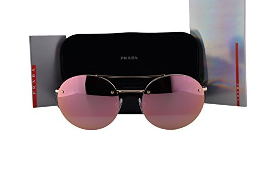 Prada PS54RS Sunglasses Pale Gold w/Gray Mirror Rose Gold Lens ZVN5L2 SPS54R ()