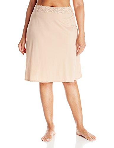 VASSARETTE Women's Full Figure Adjustable Waist Half Slip 11873, VASS Latte-24 Inch, (Vassarette Half Slip)