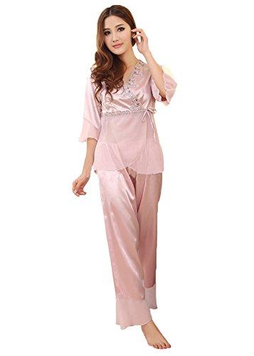 Wexinbuy Women Silk Blend Long Sleeve Suit Pajamas Nightdress