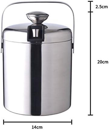 Leikance Edelstahl-Eiskübel, doppelschichtiger Isoliereimer mit Deckel und Griff, Eisklemme