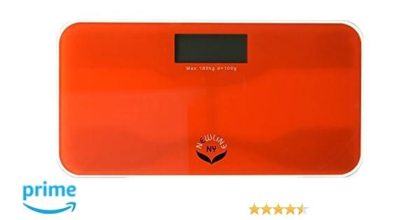 499e66e3d215 NewlineNY SBB-0720N-NYRO Step-On Mini Travel Bathroom Scale, Red Orange