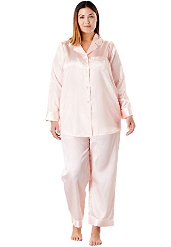 (Amoureuse Women's Plus Size The Luxe Satin Pajama Set - Shell Pink, 22/24)