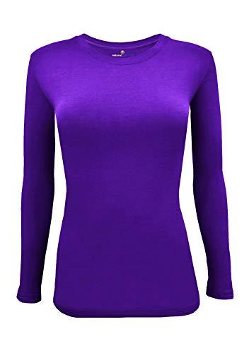 (Natural Uniforms Women's Under Scrub Tee Crew Neck Long Sleeve T-Shirt (Purple, X-Small))