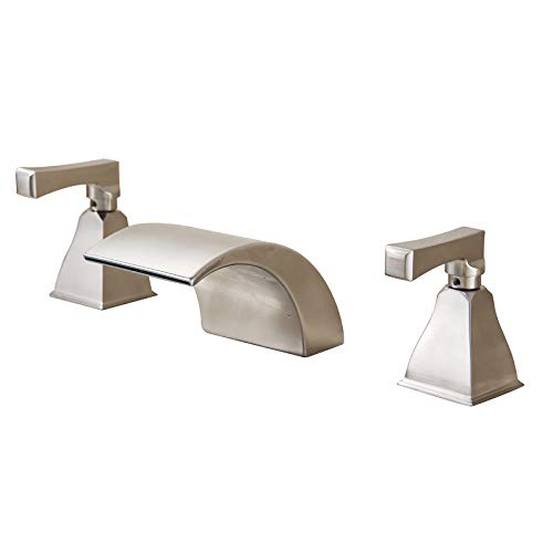 Senlesen Waterfall 8-16 Inch Widespread Three Holes 2 Knobs Bathroom Basin Faucet Vanity Sink Mixer Tap Brushed Nickel