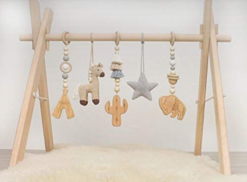 Wooden Play Gym for Baby Infant Activity Set Wild WEST Adventures Wooden Toys with Foldable Play Gym