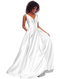 Women's V Neck Open Back Beaded Satin Prom Dress Long Formal Evening Gown with Pockets