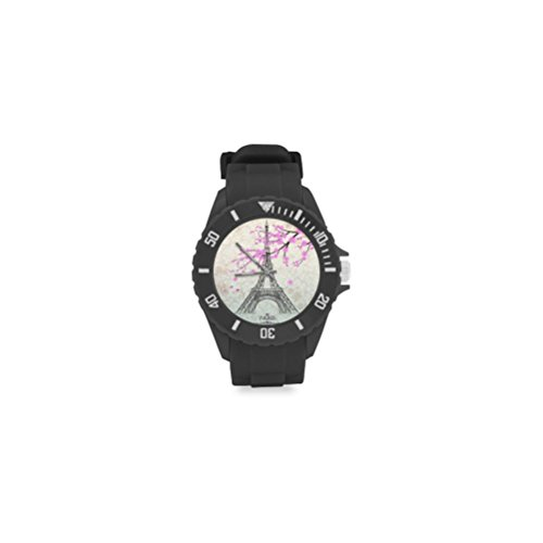 Birthday Gifts Eiffel Tower with Beautiful Flower Kids' Round Rubber Sport Watch by Eiffel Tower Watch