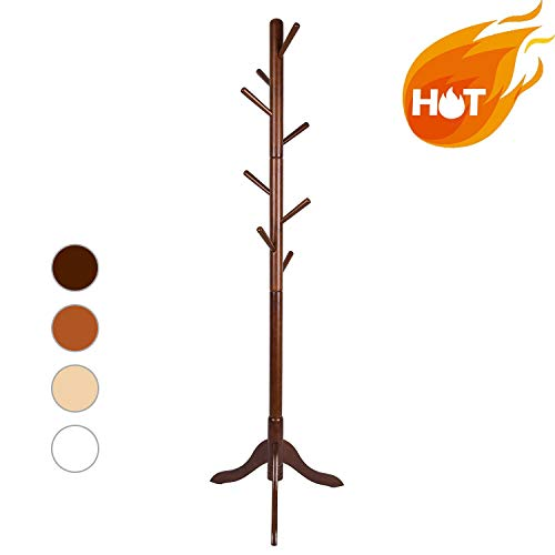 LCH Sturdy Coat Rack Solid Rubber Wood Hall Tree with Tripod Base, 8 Hooks,Also Suitable for Kids(Coffee) by LCH (Image #9)