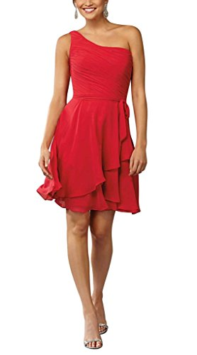 Abendkleider Shouler One Chiffon GEORGE Ballkleid Mini BRIDE aermel Ohne Damen Rot Kurz UEwUXqp