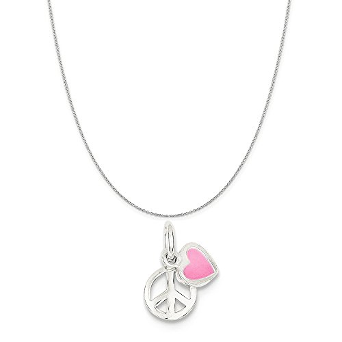 Necklace Sign Peace Heart (Sterling Silver Peace Sign With Pink Enamel Heart Pendant on a Sterling Silver Cable Chain Necklace, 16