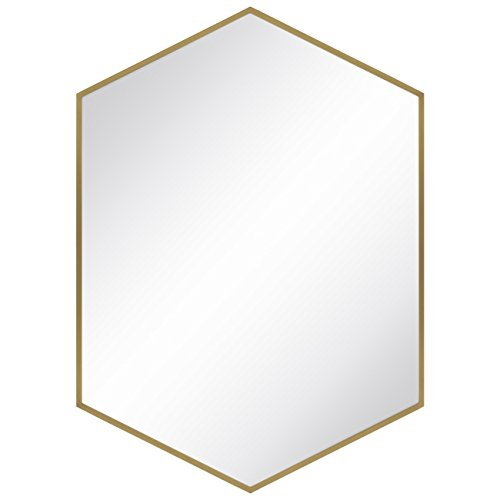 Best Choice Products Modern Hexagon Decorative Mirror for Bedroom, Living Room, Bathroom Vanity Home Decor - Copper