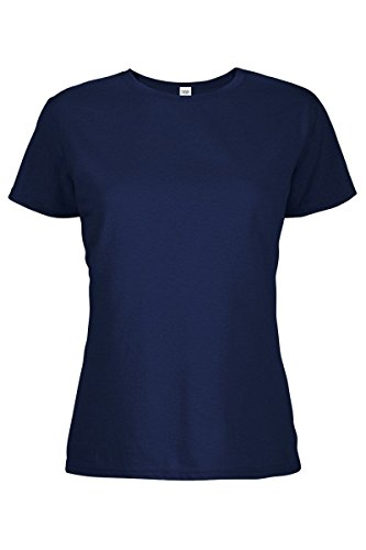 Ladies V-neck 1x1 Rib T-shirts - Casual Garb Women's Crew Neck Short Sleeve Tee T-Shirts for Women Athletic Navy Large