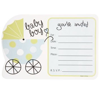 20 U0026quot;Its A Boyu0026quot; Baby Shower Party Invitations With Blank White ...