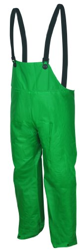 (MCR Safety 388BFXL Dominator PVC/Polyester Bib Overall with Elastic Adjustable Suspenders, Green, X-Large)